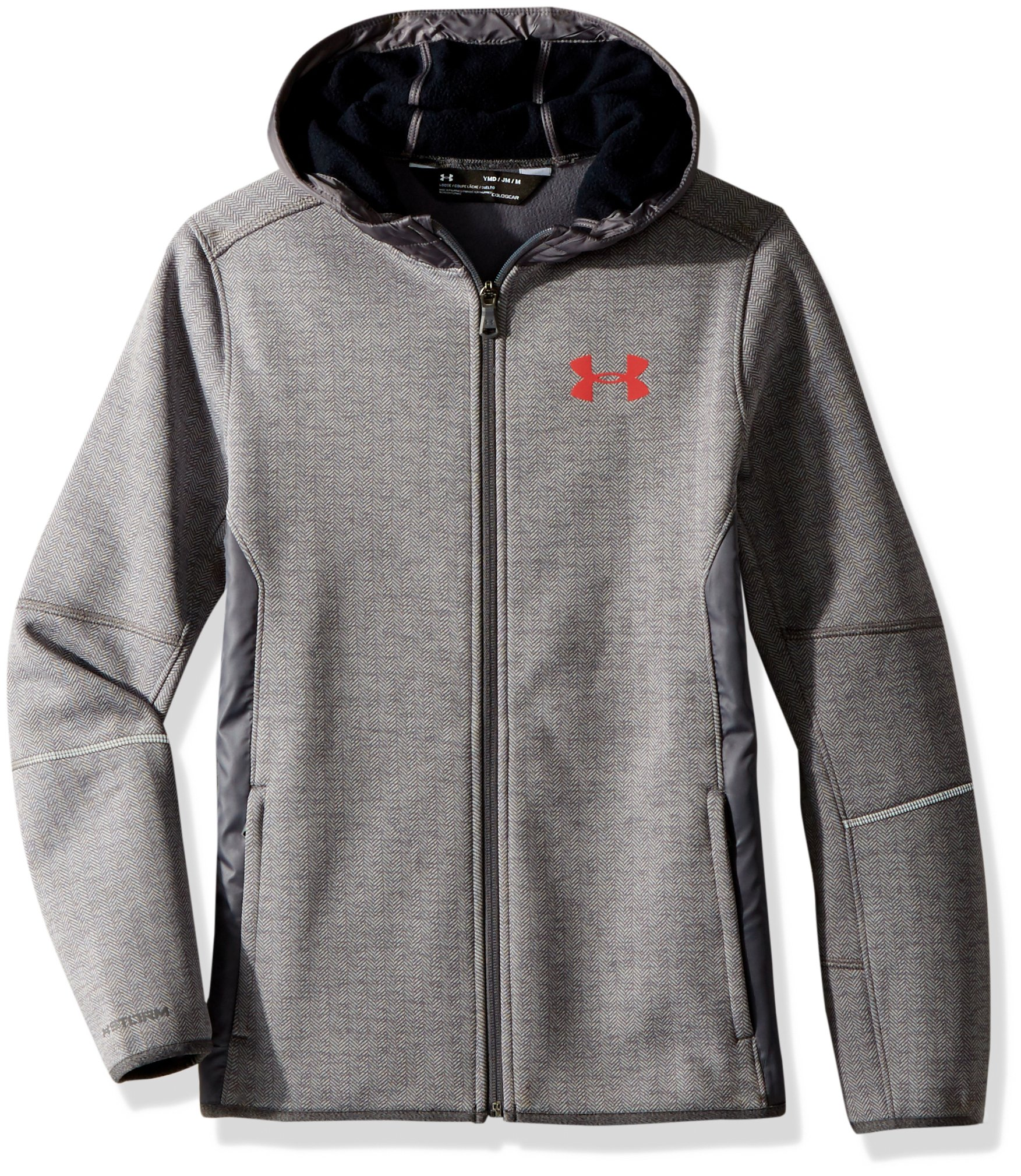 Under Armour Boys Full Zip Swacket,Graphite /Red, Youth X-Small