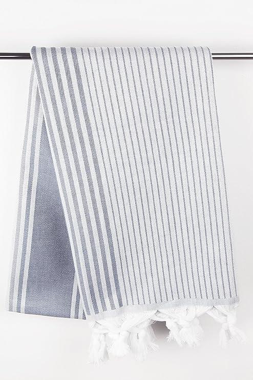 ZOLLNER Toalla turca para Playa y Piscina Pareo, 90x170 cm, algodón, a Rayas Azules, Serie Pharao: Amazon.es: Hogar