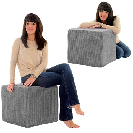High Density Foam Pouffe Cube Soft Snuggly Ocean Cord Chair Extra Seating  Stool (Grey)