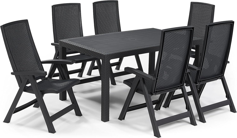 Keter - Set de mobiliario de jardín Melody/Montreal (mesa + 6 ...