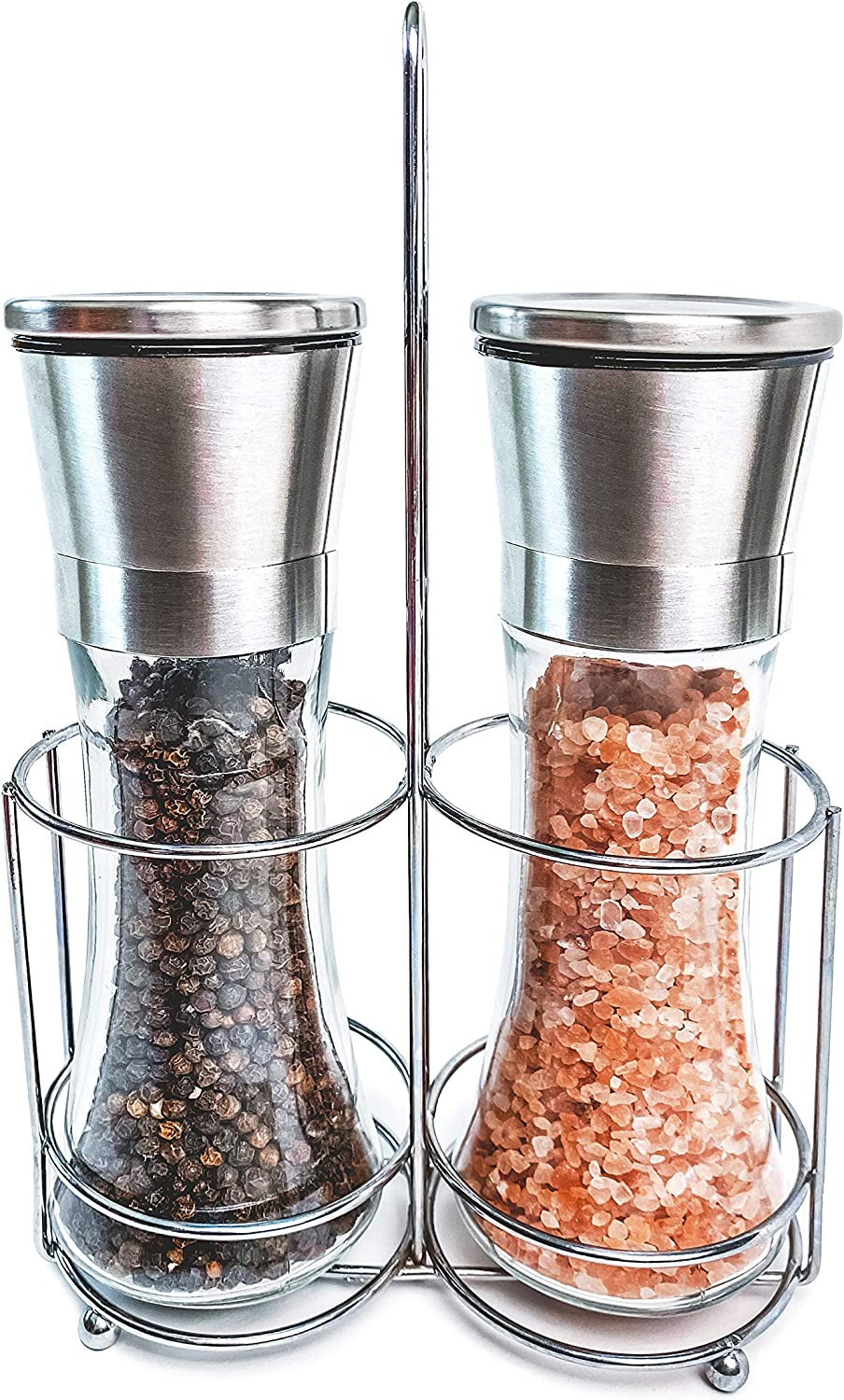 Salt and Pepper Grinder Set with Clear Mill, Stainless Steel Manual Top, and Adjustable Ceramic Grinder for Spice Coarseness, Refillable with Sea Salt or Peppercorn
