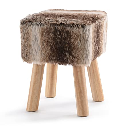 Cheer Collection 11 Square Ottoman Super Soft Decorative Brown Fox Faux Fur Foot Stool with Wood Legs