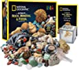 NATIONAL GEOGRAPHIC Rocks & Fossils Kit – 200 Piece Set Includes Geodes, Real Fossils, Rose Quartz, Jasper, Aventurine & Many More Rocks, Crystals & Gemstones