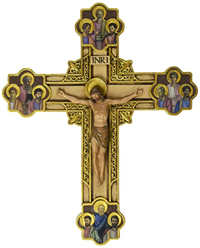 Renaissance Collection Joseph s Studio by Roman Exclusive Wall Cross, Depicts Jesus Framed in Gold Scrollwork Surrounded by The 12 Apostles, 12-Inch