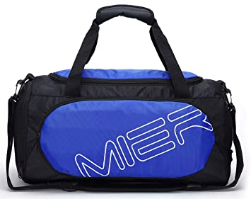 MIER Gym Bag Sports Duffel For Men And Women With Shoe Compartment 25L Blue