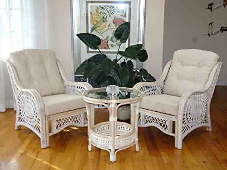 Malibu Rattan Wicker Living Room Set 3 Pieces White Wash Coffee Table 2  Lounge Chairs W