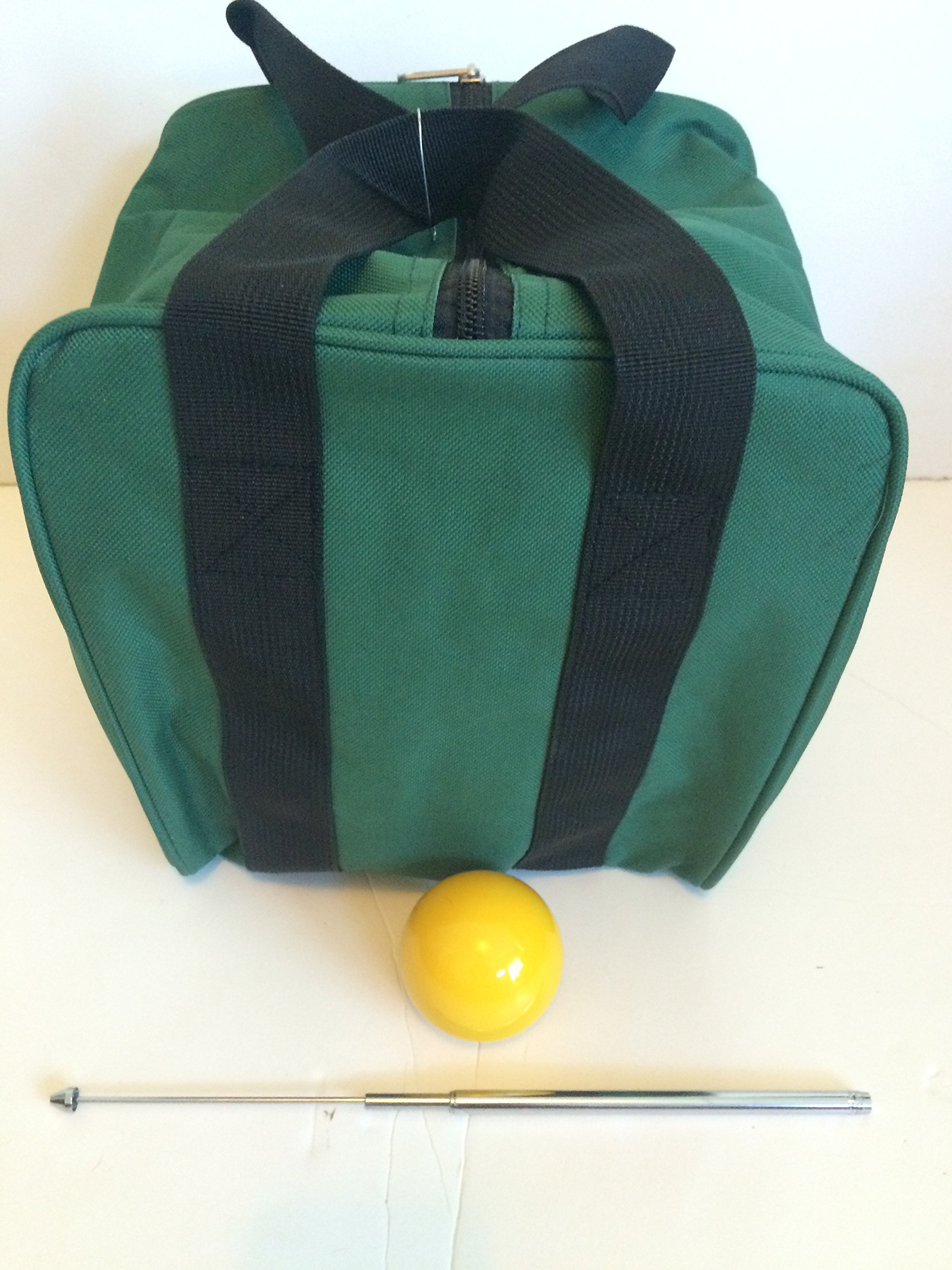 Unique Bocce Accessories Package - Extra Heavy Duty Nylon Bocce Bag (Green with Black Handles), Yellow pallina, Extendable Measuring Device