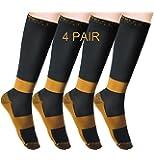 Compression Socks MELERIO 4 Pairs Running Calf Flight Compression Sock for Men and Women Best Running Socks for Edema, Varicose Veins, Shin Splints, Flying, Travel, Pregnancy, Nurses