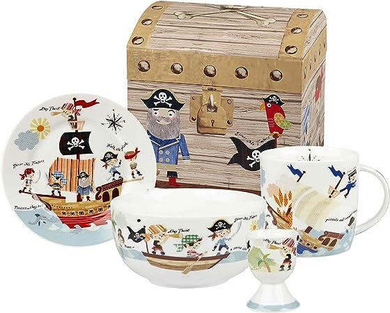 Little Rhymes Churchill China Queens Juego de Plato, tazón, Taza y huevera para el Desayuno con Caja, diseño de los Piratas de los Siete Mares: Amazon.es: Hogar