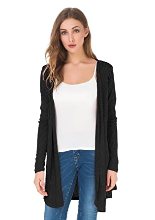 74e52393a58 Upopby Women s Soft Casual Open Front Drape Cardigan Long Sleeve Knit  Cardigan Sweater Plus Size Black