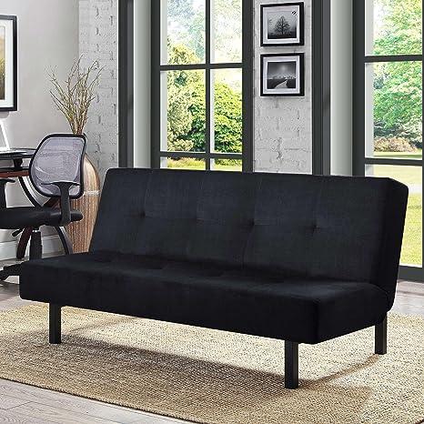 Amazon.com: Futón de 3 posiciones en color negro, cojines ...