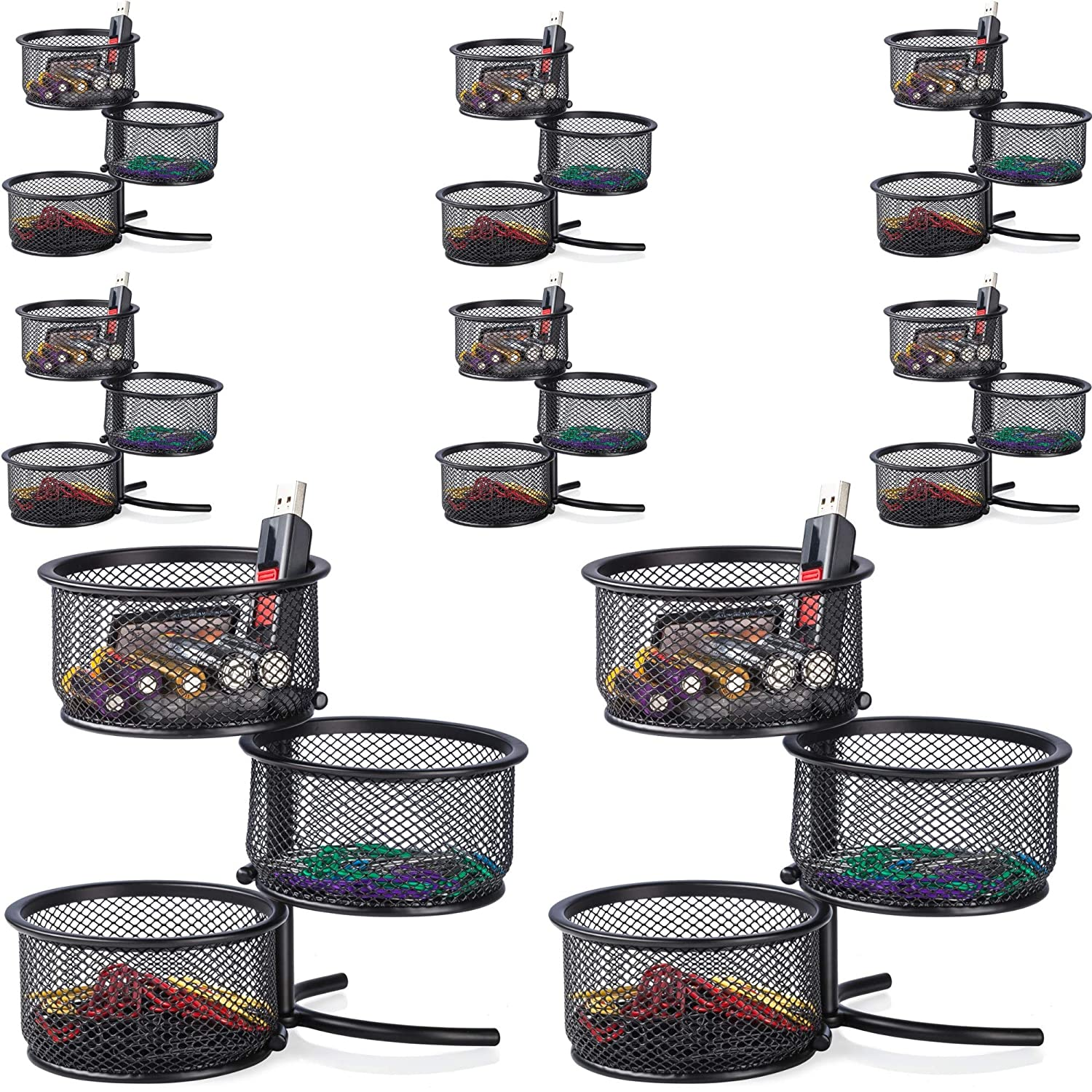 Desk Paper Clip Holder & Office Accessories Organizer - 3 Tier Mesh Swivel Tower Sorter, Black - 2 Pack Halter HALMESHCLIPSTND