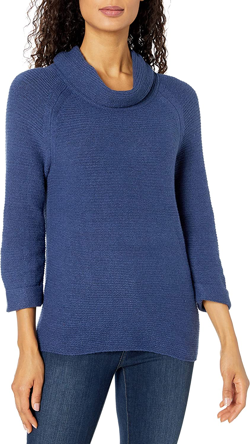 Leo /& Nicole Womens 3//4 Slv Cowl Neck Textured Pullover Sweater