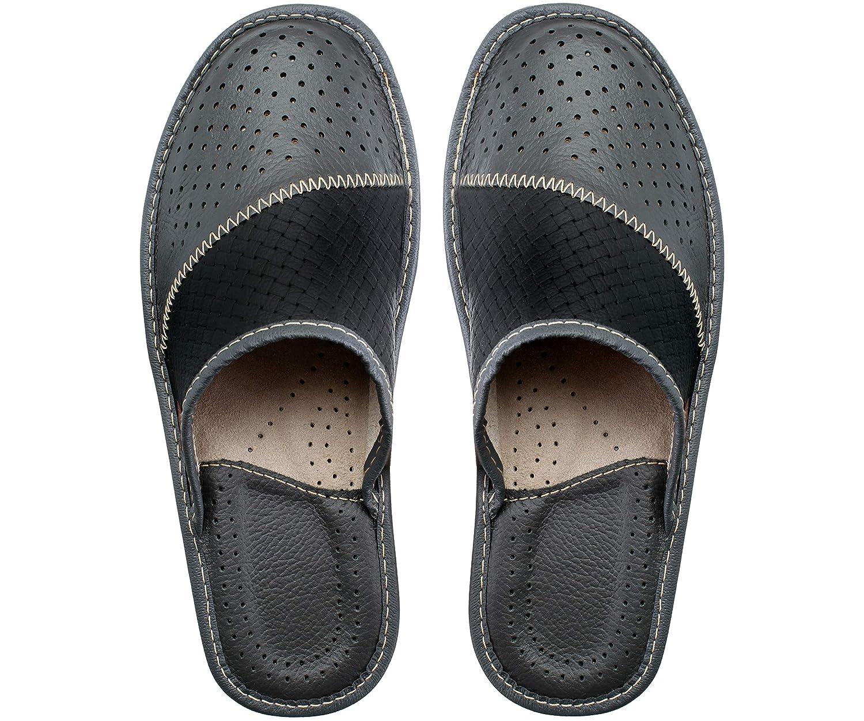 ESTRO Mens Slippers Mens Slipper Men House Shoes Leather Home Mule M55