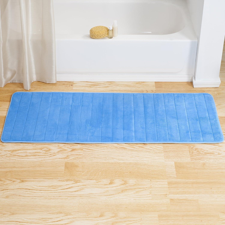 Lavish Home Memory Foam Striped Extra Long Bath Mat, 24 by 60