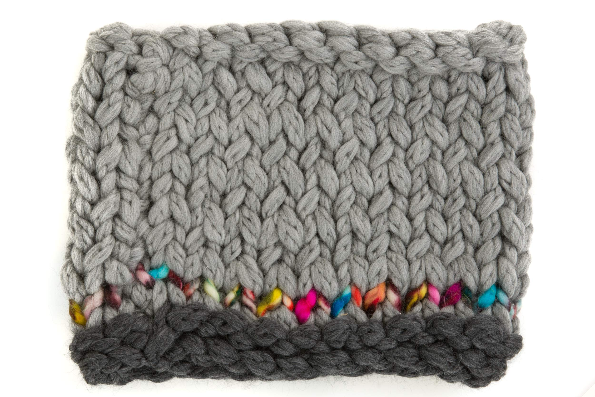 Bicolor Chunky Knitted Collar With Multicolor Detail, Merino Wool- 100% Made in Italy by Angiola made in Italy