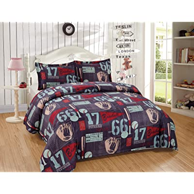 Chezmoi Collection 3-Piece Kids/Teens Sports Duvet Cover Set - Soft Microfiber Gray Blue Red Teal Baseball, Full/Queen Size: Home & Kitchen