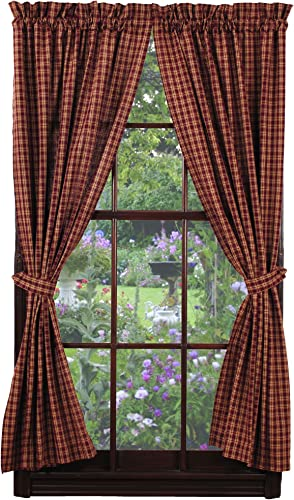 IHF New Panel Cambridge Wine Window Treatments Unlined 100 Cotton 72 Inch x 63 Inch