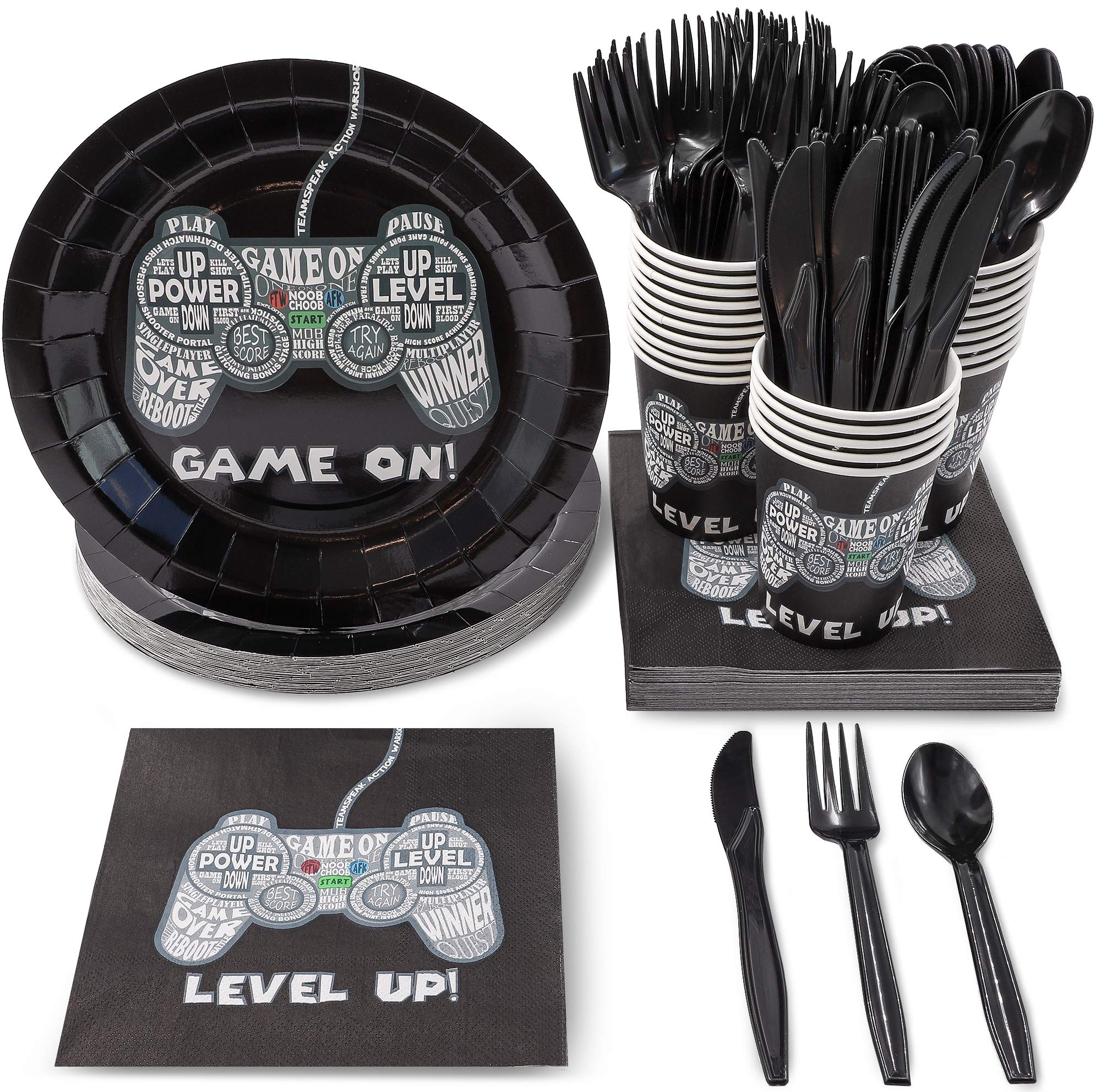 Juvale 144 Piece Video Game Party Supplies (Serves 24) Boys Gamer Birthday Plates, Napkins, Cups and Cutlery by Juvale