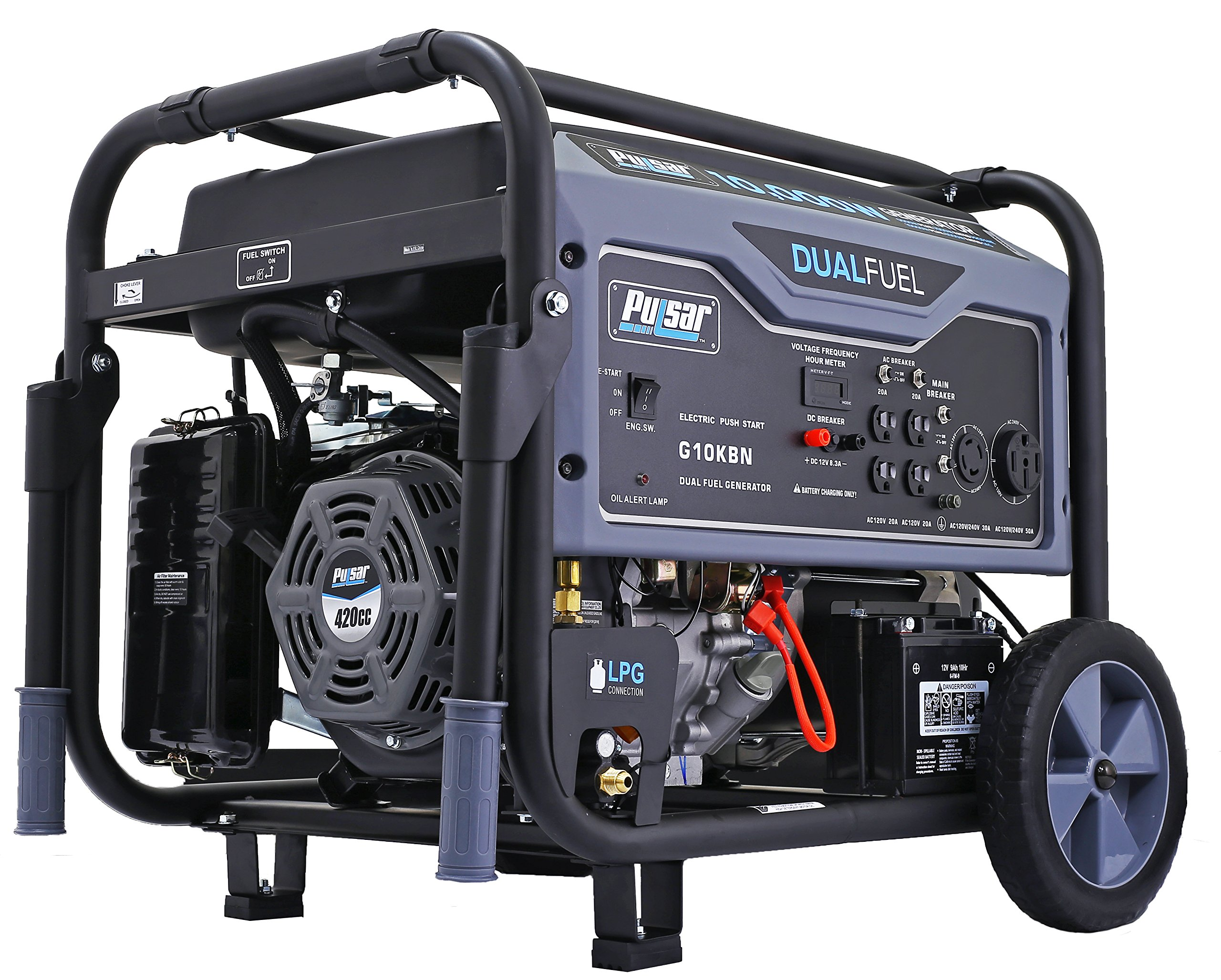 Pulsar G10KBN Space Gray 10,000 Watt Portable Dual-Fuel Generator with Electric Start, CARB Approved