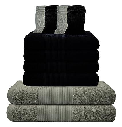 liness 10 piezas Toallas de mano Set Gris Negro 4 toallas de mano de 50 x