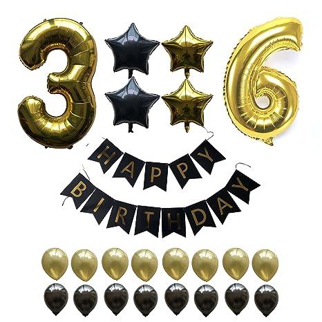 Juego de globos de fiesta de 36 cumpleaños, globos de oro de ...