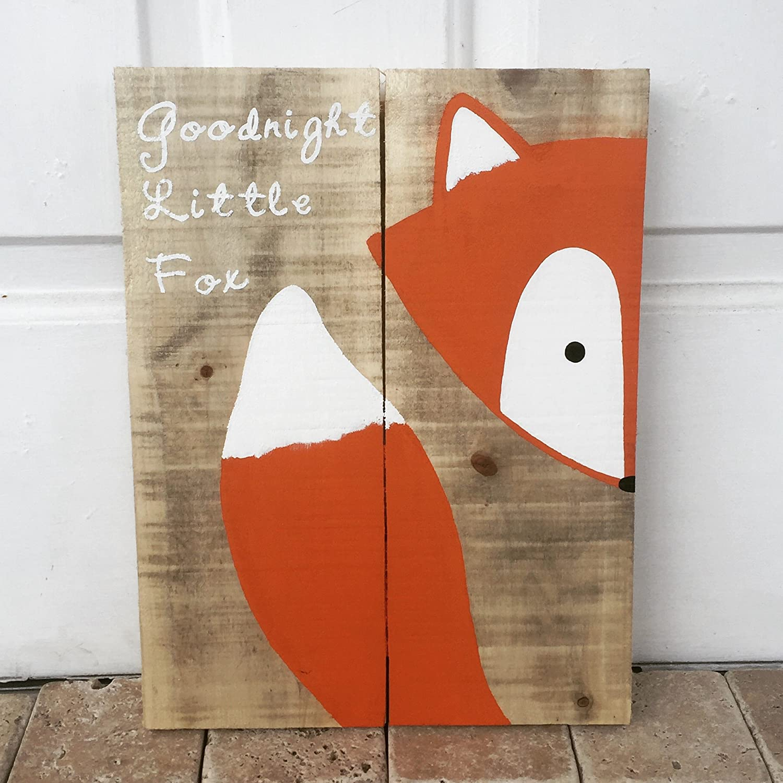 amazon com 10x14 goodnight little fox wood sign nursery decor