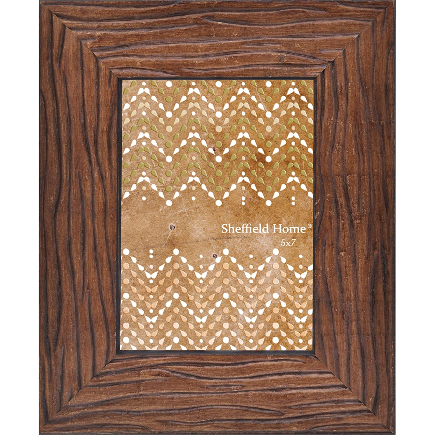 Sheffield Home Picture Frame Photo Brown Hard Scraped Textured Wood 5 by 7 (Natural)