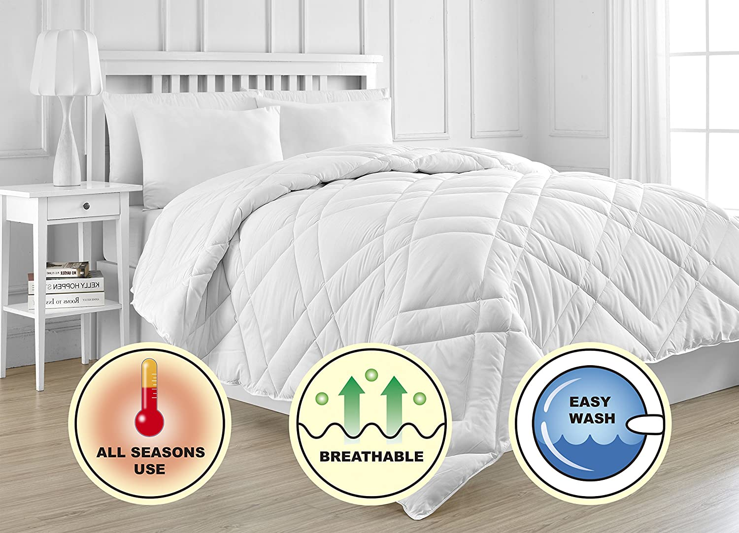 Diamond Down Alternative White Duvet Comforter