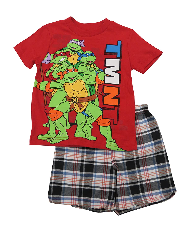 Nickelodion Ninja Turtles Red T Shirt Set with Plaid Short