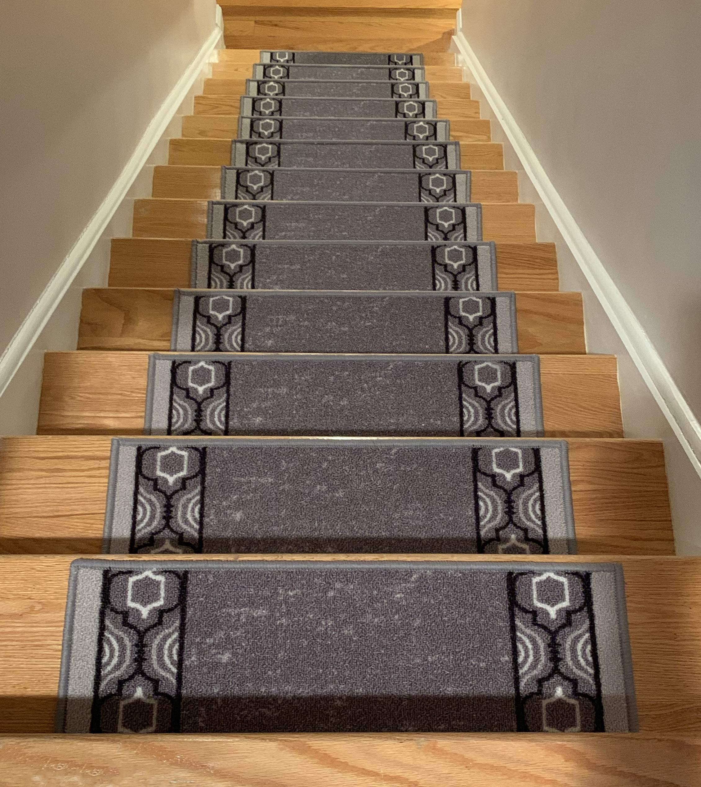 Stair Treads Skid Slip Resistant Backing Indoor Carpet Stair Treads Trellis Border Design 8 ½ inch x 26 ¼ inch (Set of 13, Grey Black) by RugStylesOnline