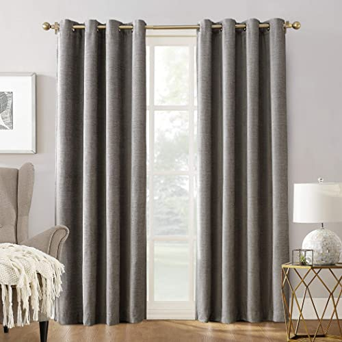 Sun Zero Manor Chenille Theater Grade Extreme 100 Blackout Grommet Curtain Panel, 52 x 84 , Gray
