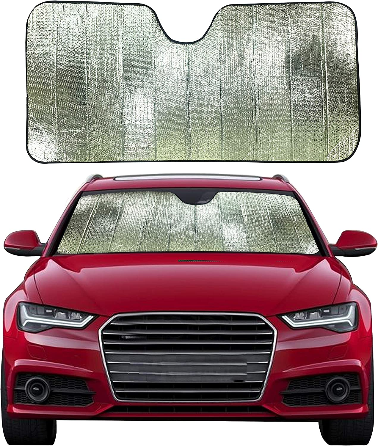 """EcoNour Accordion Foldable Windshield Sunshade for Car   Blocks Harmful UV Rays   Foldable Windshield Sunshade Keeps Your Car Cool   Sun Glare Protection   Fits Most of The Car   Large (56"""" x 28"""")"""