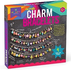 Craft-tastic – DIY Charm Bracelets Kit – Craft Kit Makes 4 Customizable Bracelets with Easy DIY Puffy Sticker Charms