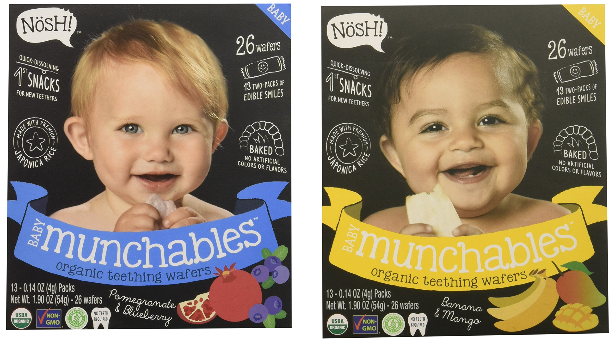 Nosh Baby Munchables Teethers Organic Rice Teething Wafers, 26 Piece, Sampler Pack (Pack of 2), Pomegranate Blueberry & Banana Mango by nosh (Image #1)