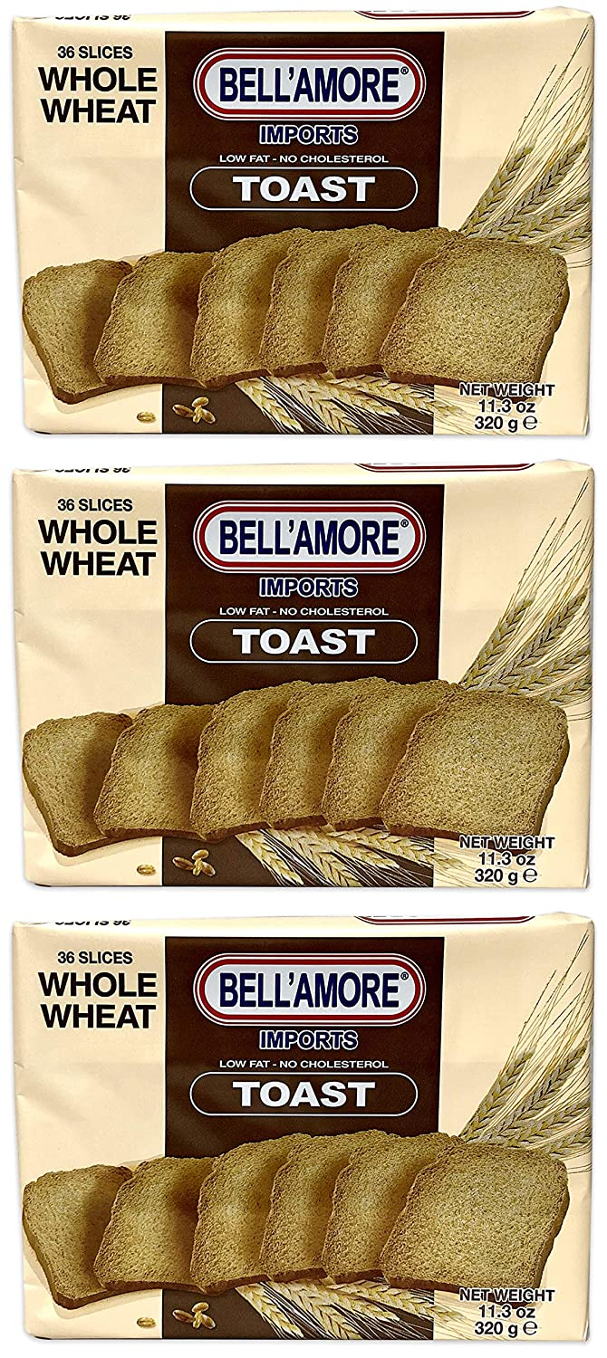 Bellamore Classic Italian Whole Wheat Toast | Light & Crispy Toast Cracker Bread | Imported from Italy (3-PACK)