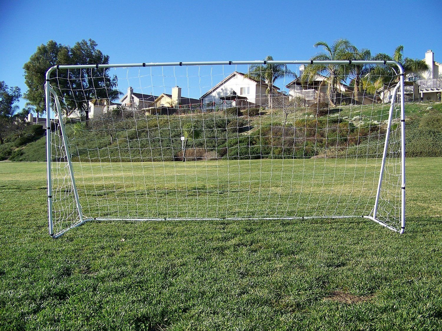 Vallerta 12 x 6 Ft. White Powder Coated Galvanized Steel Soccer Goal w/Net. 12x6 Foot AYSO Regulation Size Portable Training Aid. Ultimate Backyard Goal, All Weather, One Year Warranty. New