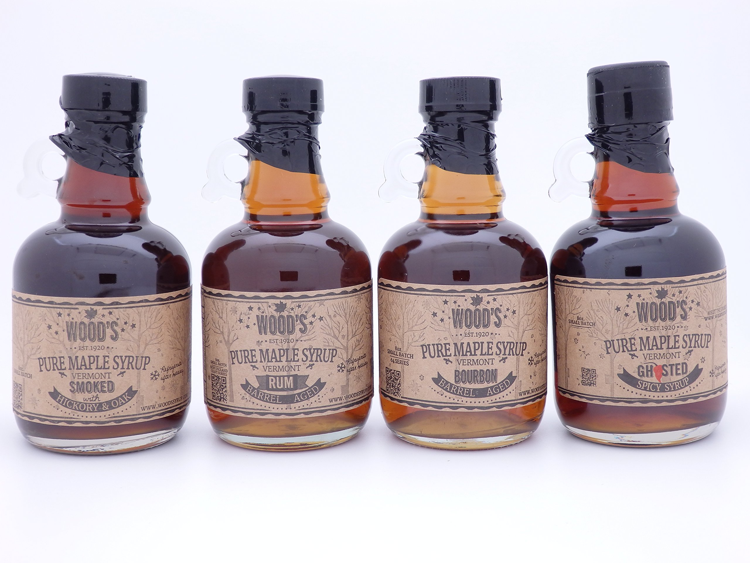 Set of Four Pure Vermont Maple Syrup - Bourbon, Rum, Ghost Pepper and Smoked - in Glass Jugs