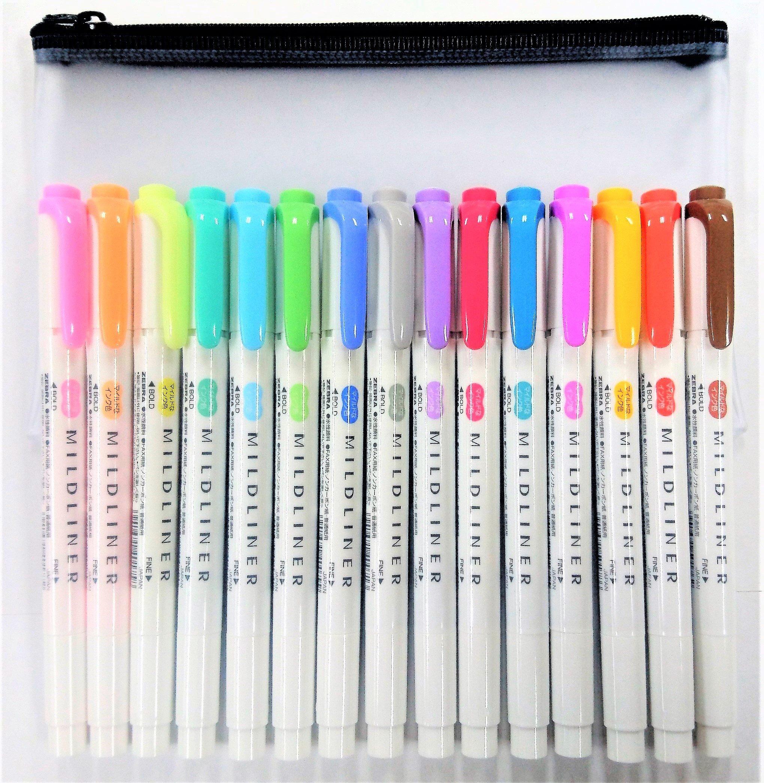 Zebra Mildliner Soft Color Double-Sided Highlighter Pens Deep, Warm & Cool, 15 Color Full Set with Original Vinyl Pen Case