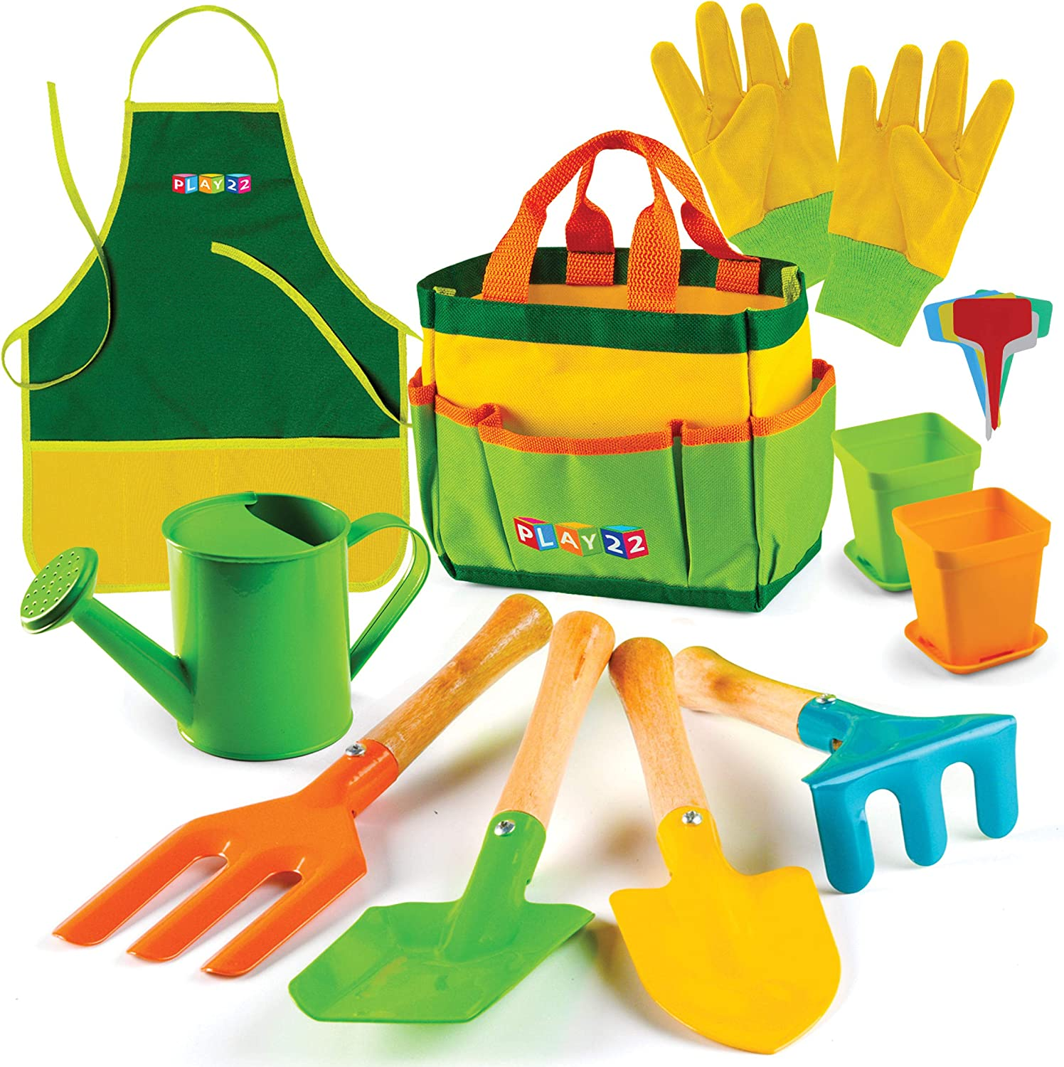 Play22 Kids Gardening Tool Set 12 PCS - Kids Gardening Tools Shovel, Rake Fork Trowel Apron Gloves Watering Can and Tote Bag - Wooden Gardening Tools for Kids Best Outdoor Toys Gift for Boys and Girls