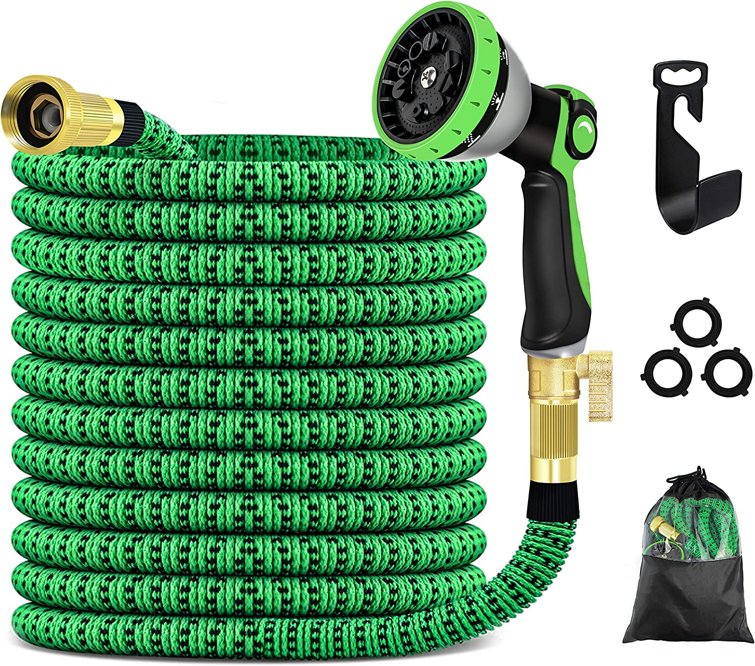 Keakam Expandable Garden Hose, 100FT Water Hose with 10 Functional Spray Nozzles, Strength 3750D Fabric 4-Layer Latex Core, Solid Brass Fittings, Flexible Leakproof Lightweight No Kink Hose (100FT)