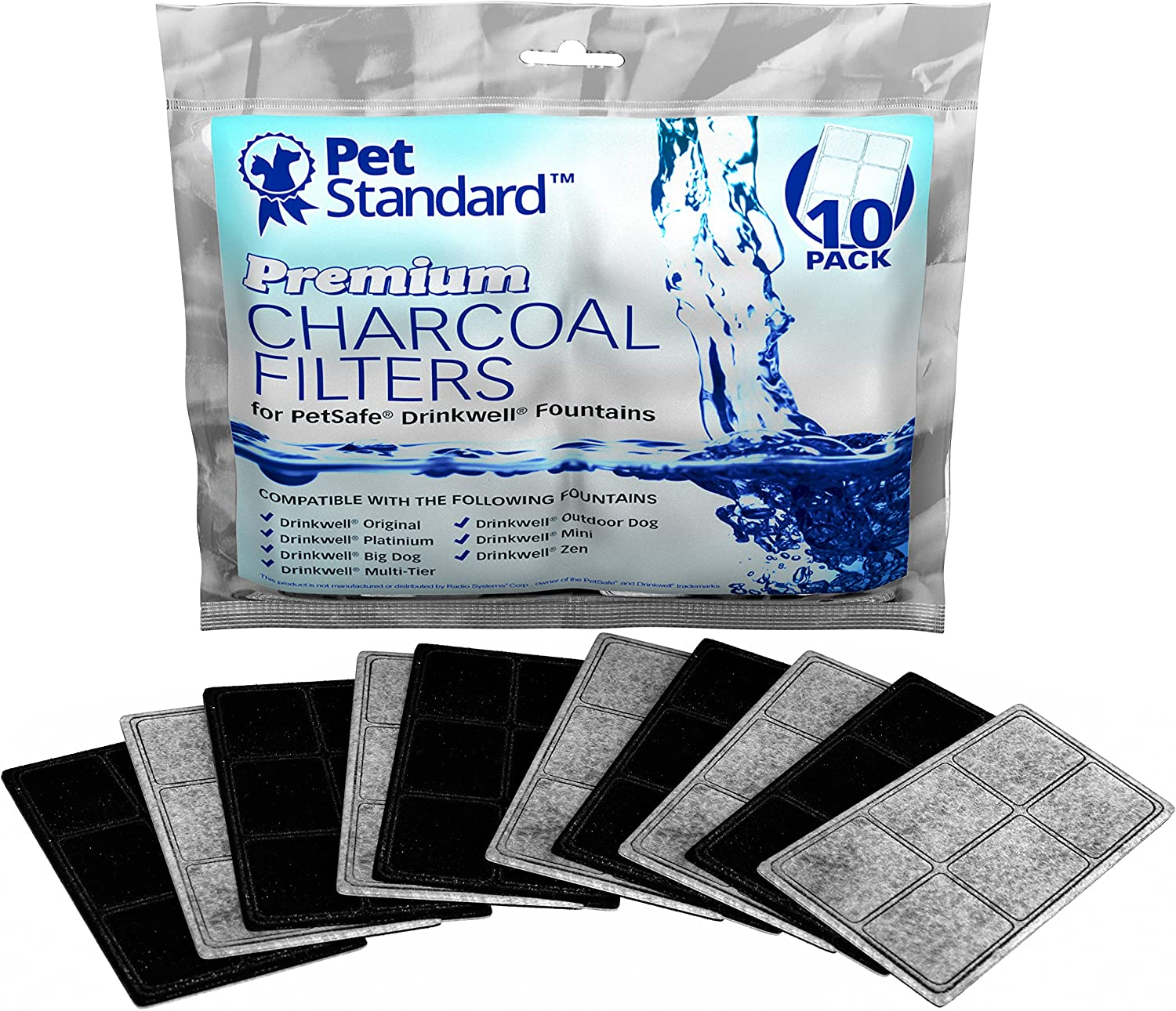 Pet Supplies : Premium Charcoal Filters for PetSafe Drinkwell Fountains, Pack of 10 :