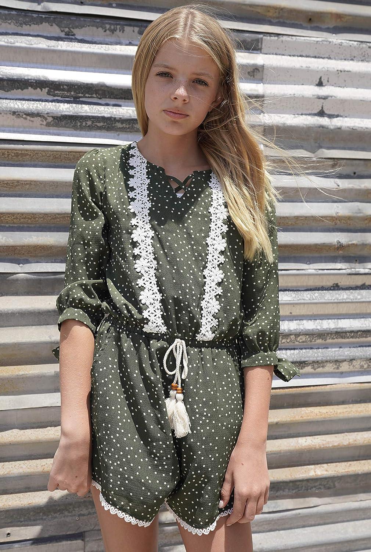 5dddf889c47b ... Big Girls Vintage Lace Trimmed Romper with Pockets (Many Options)