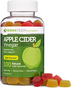 Apple Cider Vinegar Gummies with Mother (100 Gummies, Extra Large Bottle) for Weight Loss Cleanse, Enhanced with Ginger Dry Extract (Chewable, Made in The USA, Gluten Free) from Herbatech