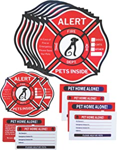 Pet Alert Sticker, Double-Sided 8 Decals&4 Wallet Cards&2 Key Tags Emergency Kit, Rescue Pet Decals, Pet Alert Stickers for House Home Window Pet Door-Emergency Pet Kit, UV Resistant-Waterproof