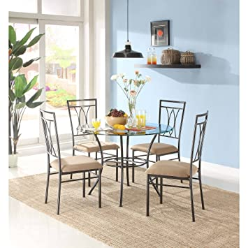 Amazon.com - Mainstays 5-Piece Glass and Metal Dining Set - Table ...