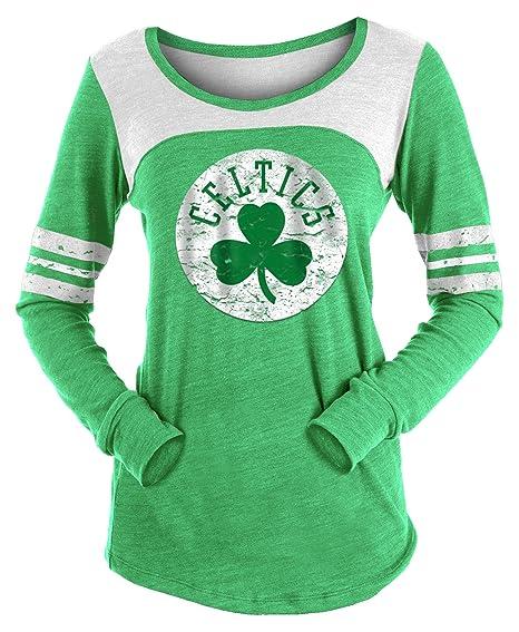 2237a18075 New Era Boston Celtics Women's Long Sleeve Tri-Blend Striped T-shirt (XX