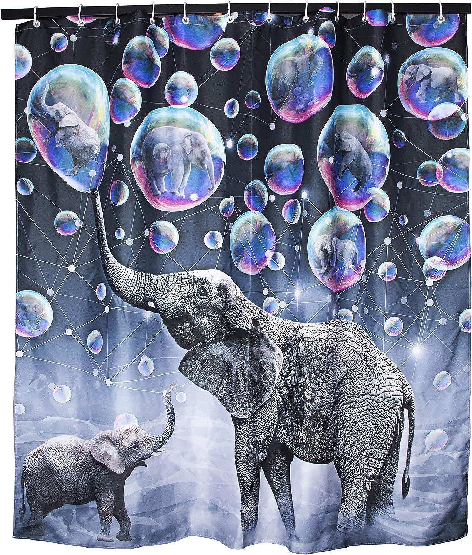 Elephant Shower Curtain Waterproof Polyester Mildew Bathroom Curtains 180*180cm