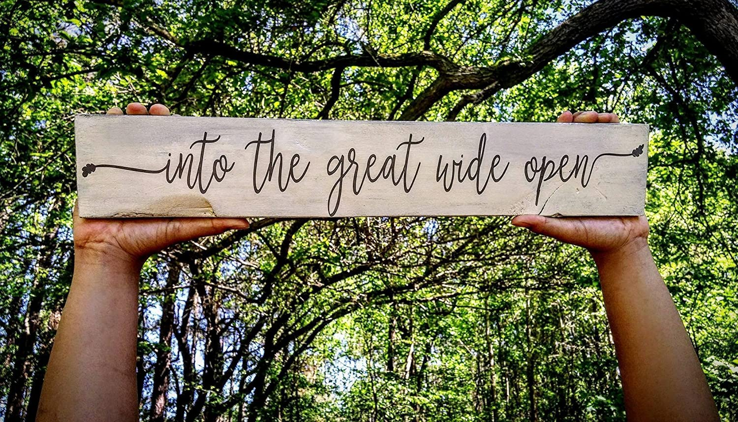 Into the great wide open, pallet sign, Tom Petty and the Heartbreakers, graduation gift, inspirational decor, wooden sign, motivational art