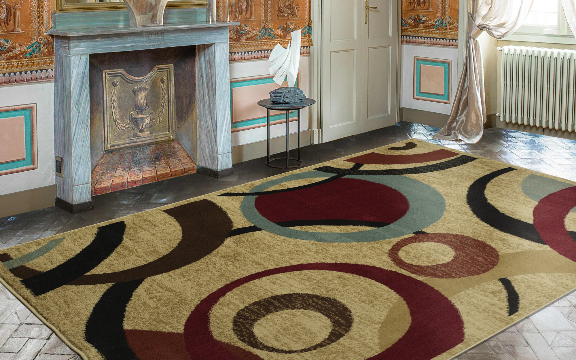 Royal Collection Beige Contemporary Abstract Circle Design Area Rug (7'10''X9'10'')